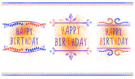 HAPPY BIRTHDAY card templates. Hand drawn letters and vintage ornaments. VECTOR labels. Orange paint splash. Stock Photo