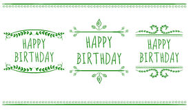 HAPPY BIRTHDAY card templates.. VECTOR labels. Green on white. Royalty Free Stock Photography