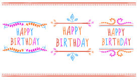 HAPPY BIRTHDAY card templates.. VECTOR labels. Multicolor letters on white. vector illustration