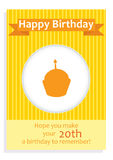 Happy Birthday card for 20th birthday. With a cupcake in the middle and orange-yellow design Stock Image