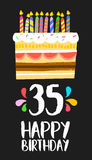 Happy Birthday card 35 thirty five year cake. Happy birthday number 35, greeting card for thirty five years in fun art style with cake and candles. Anniversary stock illustration