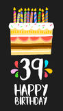 Happy Birthday card 39 thirty nine year cake. Happy birthday number 39, greeting card for thirty nine years in fun art style with cake and candles. Anniversary royalty free illustration