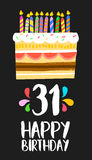 Happy Birthday card 31 thirty one year cake. Happy birthday number 31, greeting card for thirty one years in fun art style with cake and candles. Anniversary Royalty Free Stock Photo