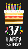 Happy Birthday card 37 thirty seven year cake. Happy birthday number 37, greeting card for thirty seven years in fun art style with cake and candles. Anniversary Royalty Free Stock Photography