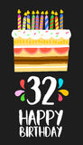 Happy Birthday card 32 thirty two year cake. Happy birthday number 32, greeting card for thirty two years in fun art style with cake and candles. Anniversary Royalty Free Stock Image