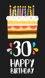 Happy Birthday card 30 thirty year cake. Happy birthday number 30, greeting card for thirty years in fun art style with cake and candles. Anniversary invitation Stock Photos