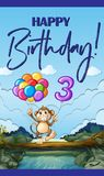 Happy birthday card for three year old. Illustration Royalty Free Stock Photography