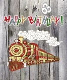 Happy birthday card with train on planks Royalty Free Stock Photography