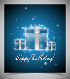 Happy birthday card. Transparent glass gift box on blue background. Vector eps10 stock illustration