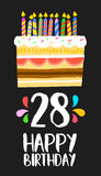 Happy Birthday card 28 twenty eight year cake. Happy birthday number 28, greeting card for twenty eight years in fun art style with cake and candles. Anniversary vector illustration