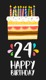 Happy Birthday card 24 twenty four year cake. Happy birthday number 24, greeting card for twenty four years in fun art style with cake and candles. Anniversary stock illustration