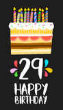 Happy Birthday card 29 twenty nine year cake. Happy birthday number 29, greeting card for twenty nine years in fun art style with cake and candles. Anniversary royalty free illustration