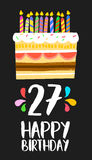 Happy Birthday card 27 twenty seven year cake. Happy birthday number 27, greeting card for twenty seven years in fun art style with cake and candles. Anniversary Royalty Free Stock Images