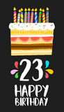 Happy Birthday card 23 twenty three year cake. Happy birthday number 23, greeting card for twenty three years in fun art style with cake and candles. Anniversary stock illustration