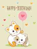 Happy Birthday Card. Two Cute Cheerful Kittens With A Balloon And Hand Made Text. Vector Cartoon Animals Illustration. Cheerful Kittens Meowing. Cheerful Stock Photos