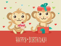 Happy Birthday Card With Two Funny Monkey Cake And Gift Box. Cute Cartoon Animal Vector. Stock Photography