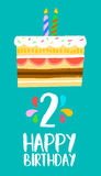 Happy Birthday card for 2 two year fun party cake. Happy birthday number 2, greeting card for two year in fun art style with cake and candles. Anniversary Royalty Free Stock Image