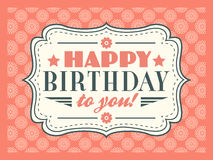 Happy birthday card. Typography letters font type Royalty Free Stock Photo
