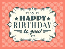 Happy birthday card. Typography letters font type Royalty Free Stock Image