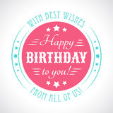 Happy birthday card. Typography letters font type Stock Photos