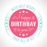 Happy birthday card. Typography letters font type Stock Image