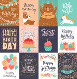 Happy birthday card vector anniversary greeting postcard with lettering and kids birth party invitation with cake or. Gifts illustration set of childs postal royalty free illustration