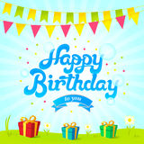 Happy birthday card. Vector banner with blue background, green grass, flowers, birthday flags and presents. Happy birthday card. Vector banner with blue Stock Images