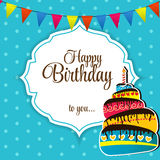 Happy Birthday Card Vector Illustration.  Stock Photos
