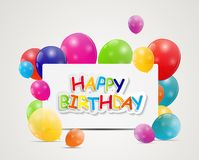 Happy Birthday Card Vector Illustration Stock Photos
