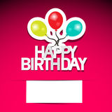 Happy Birthday Card Vector. On Pink Background with Balloons Stock Images