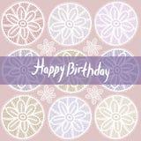 Happy Birthday Card. Vintage lace design. Pastel purple violet c Stock Images