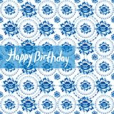 Happy Birthday Card. Vintage shabby Chic pattern with blue flowe Royalty Free Stock Image