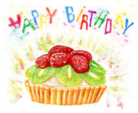 Happy birthday card with watercolor cake and letters Royalty Free Stock Photos
