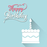 Happy birthday card with white cake first candle. Illustration eps 10 Royalty Free Stock Photos
