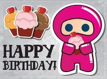 Happy Birthday Card With Cute Cartoon Ninja Royalty Free Stock Photos