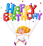 Happy Birthday Card With Girl And Balloons Royalty Free Stock Photo