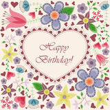 Happy Birthday Card With Heart Flowers Royalty Free Stock Photo