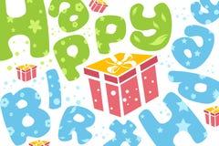 Happy Birthday Card With Present Stock Photo