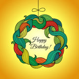 Happy Birthday card with wreath of colored foliage Royalty Free Stock Photos
