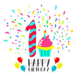Happy Birthday card for 1 year baby fun party art. Happy birthday number 1, greeting card for one year in fun art style with party confetti and cake. Anniversary royalty free illustration