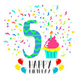 Happy Birthday card for 5 year kid fun party art. Happy birthday number 5, greeting card for five year in fun art style with party confetti and cake. Anniversary Stock Image