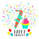 Happy Birthday card for 7 year kid fun party art Stock Image