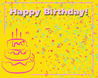 Happy Birthday Card_Yellow Stock Images