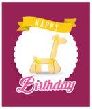 Happy birthday card with yellow giraffe balloon badge Stock Photography