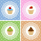 Happy Birthday Cards with Cupcakes. Collection of four birthday cards with different sweet cupcakes. Eps file available Stock Images
