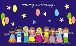 Happy birthday. Birthday cards - greeting cards. Children with balloons in the background are the stars stock illustration