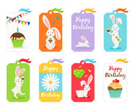 Happy birthday cards and invitation tags. Happy birthday cards. Birthdays greeting and invitation tags with white rabbit and cake vector illustration royalty free illustration