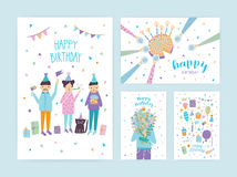 Happy birthday cards set. Collection of cartoon postcards. Royalty Free Stock Photos