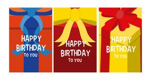 Happy birthday cards. Set of Happy birthday cards with gift box colorful vector illustration graphic design vector illustration