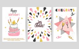 Happy Birthday cards set in pink, black and golden colors. Celebration vector illustrations with birthday cake and champagne glasses Stock Image